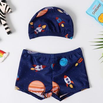 Chłopiec strój kąpielowy spodnie do pływania czepek dzieci dziecko strój kąpielowy kostium kąpielowy na lato szorty kreskówka drukowane kąpielówki tanie i dobre opinie Dobrze pasuje do rozmiaru wybierz swój normalny rozmiar RS-YY1026 POLIESTER GEOMETRIC