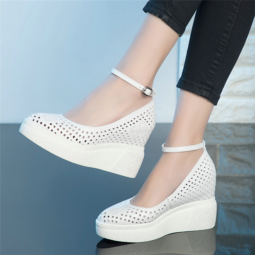 Punk Oxfords Shoes Women Genuine Leather Platform Wedges High Heel Pumps Shoes Female Round Toe Summer Mary Janes Casual Shoes