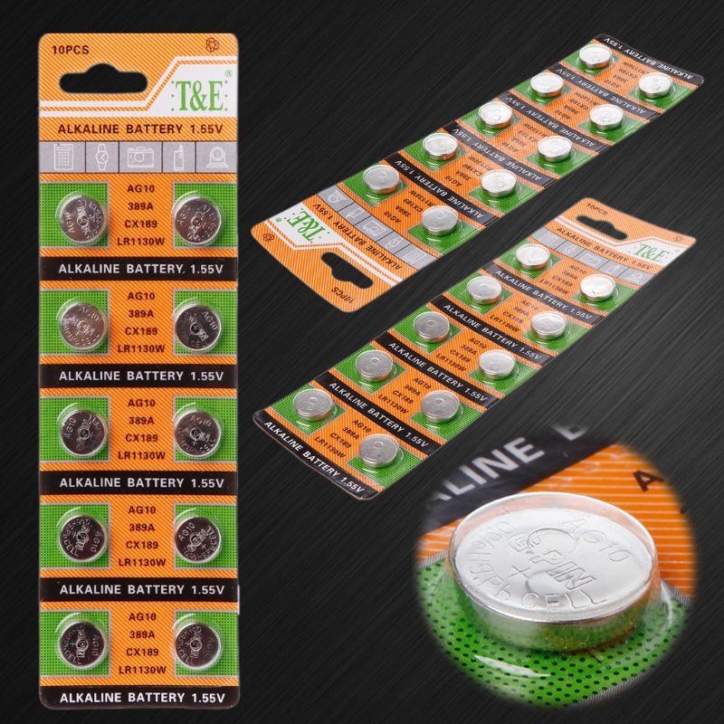 10PCS Button Coin Cell Battery AG10 1.5V Watch Batteries SR54 389 189 LR1130 SR1130 Toys Control Remote PXPE