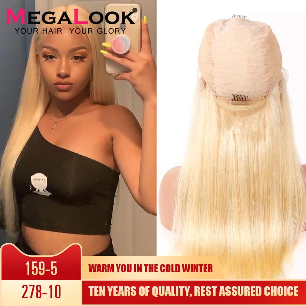 613 Closure Wig Human Hair Peruvian Blonde 4X4 Closure Wig  Glueless Straight Wigs For Black Women Remy Megalook 613 Closure Wig