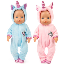 2021 New Baby New Born Fit 18 inch Doll Clothes Accessories Pink Blue Unicorn one-piece Dress For Baby Birthday Gift