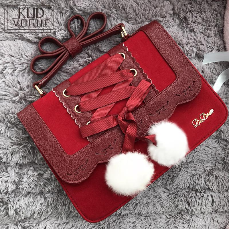 New Fashion Cute Bow Lolita Shoulder Bags Women Sweet Red Handbag Famous Brand Designer Girl Pink Leather Shoulder Bag Sac Femme