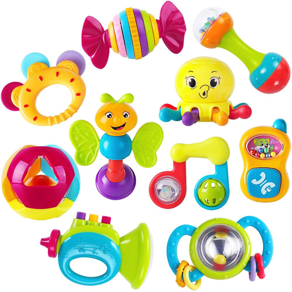 HOLA 939 6pcs/Lot Baby Rattles Early Development Toy 0-12 Months Baby Musical Hand Shaking Rattle Toy Educational Mobiles Toys