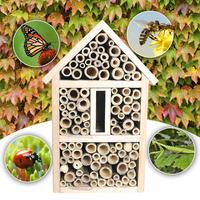 Bee House Bamboo Bee Hive For Solitary Bees House Garden Decoration Hand made Crafted Pine Wood