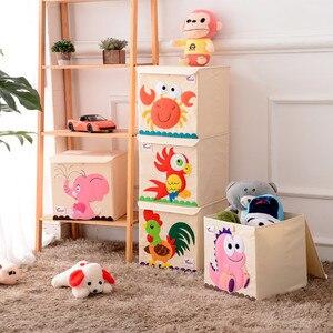 Image 3 - Nowy Cartoon haft ze wzorem zwierzęcia składany schowek myte Oxford tkaniny torba do przechowywania w szafie zabawki dla dzieci