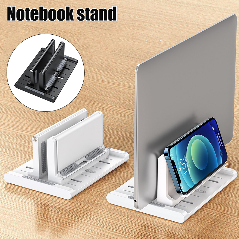 Adjustable Vertical Laptop Stand For Desk Notebook Holder With Phone Stand and Adjustable Width Multipurpose Anti Slip