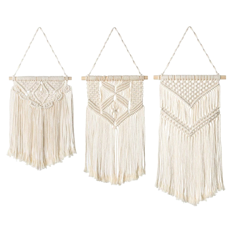 Boho Woven Macrame Wall Hanging Decor, Woven Wall Decor Boho Home Decoration ,for Apartment Bedroom Living Room Gallery,3 Differ