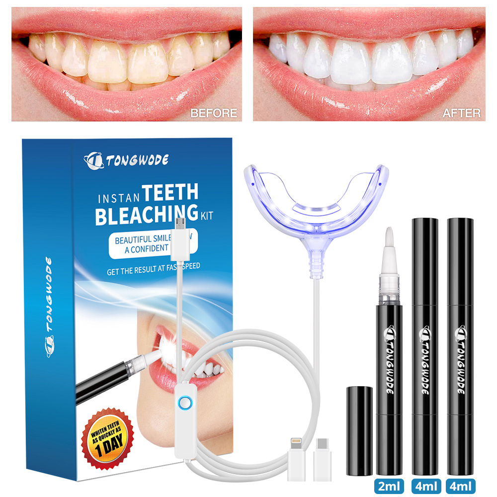 Teeth Whitening Kit With Smart Device Blue Led Light For Phone Plug With 3 Gel Pen Portable Tooth Bleaching Accelerator Home Set Aliexpress