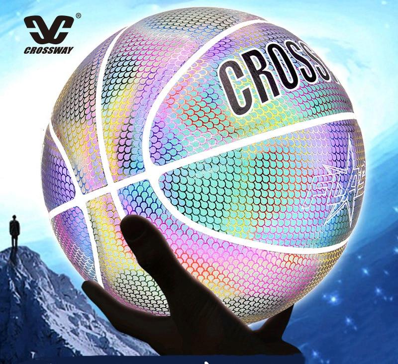 Голографический светоотражающий баскетбольный мяч износостойкий светящийся ночной Светильник баскетбольный светящийся баскетбольный мяч с сумкой-0