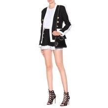 Черный и белый женский двубортный пиджак блейзеры и шорты Комплект из двух предметов