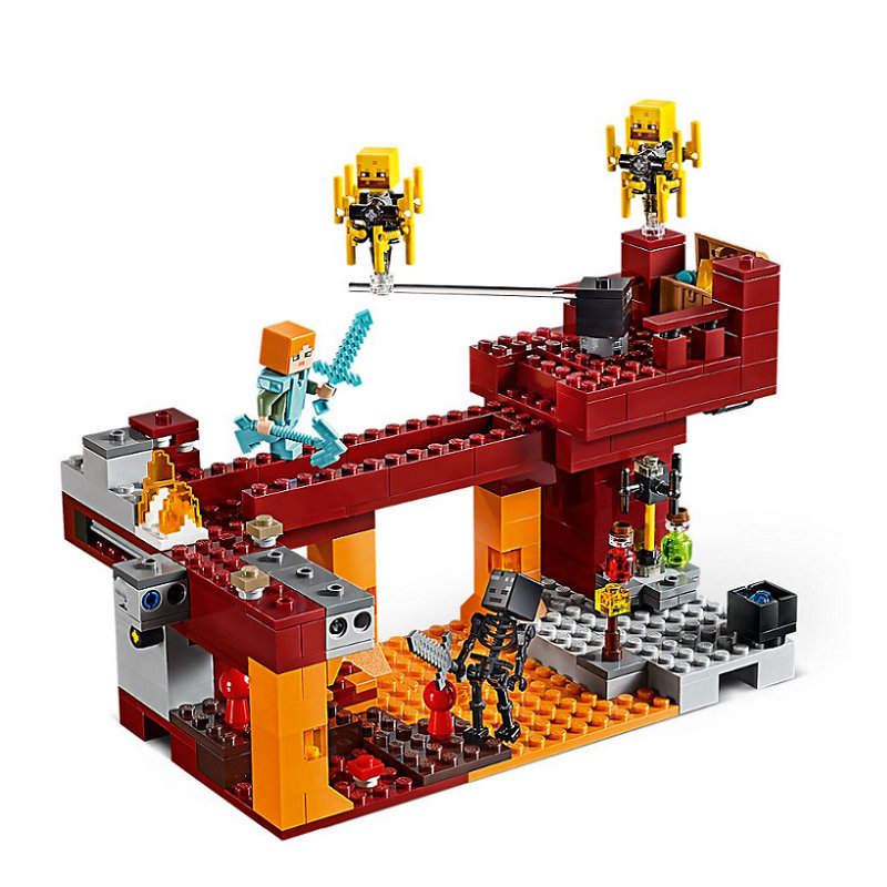 The Blaze Bridge Building Blocks With Steve Action Figures Compatible LegoINGlys MinecraftINGlys Sets Toys 21154 2
