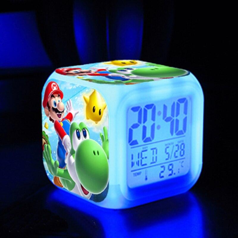Аниме Супер Братья Марио Фигурки игрушки Красочные флэш цифровой будильник светодиодный светильник настольные украшения для детских игрушек