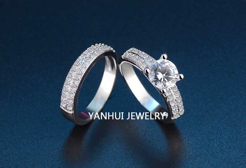 YANHUI בסדר תכשיטי קריסטל לבן זירקון 925 טבעת כסף חתונת כלה סטי טבעות אירוסין הבטחת לנשים R975