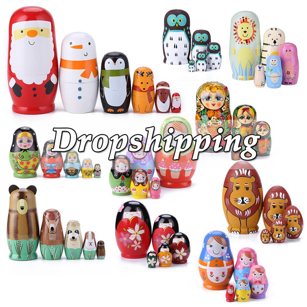 5/6pcs Wood Russian Nesting Matryoshka Dolls Set Toys Decoration Ornament Gifts Wooden Toys Baby Crafted Doll Handmade Gifts