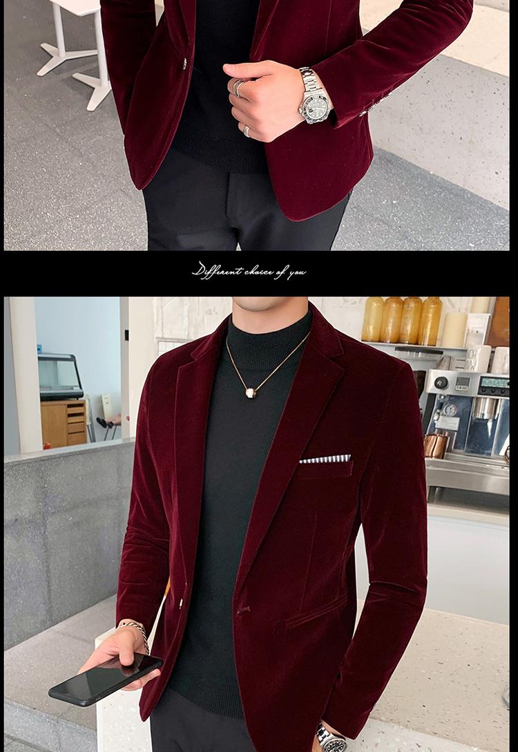 H1c7130a3c4e84ef2934e77be280a5020u - Autum Velvet Wedding Dress Coat Mens Blazer Jacket Fashion Casual Suit JacketStage DJ Men's Business Blazers Veste Costume Homme