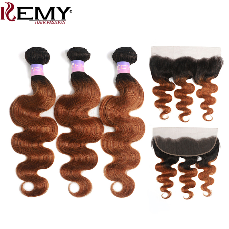 T1B/30 Body Wave Human Hair Bundles With Frontal 13x4 Brazilian Ombre Brown 3PCS Bundles With Lace Closure Non-Remy KEMY HAIR