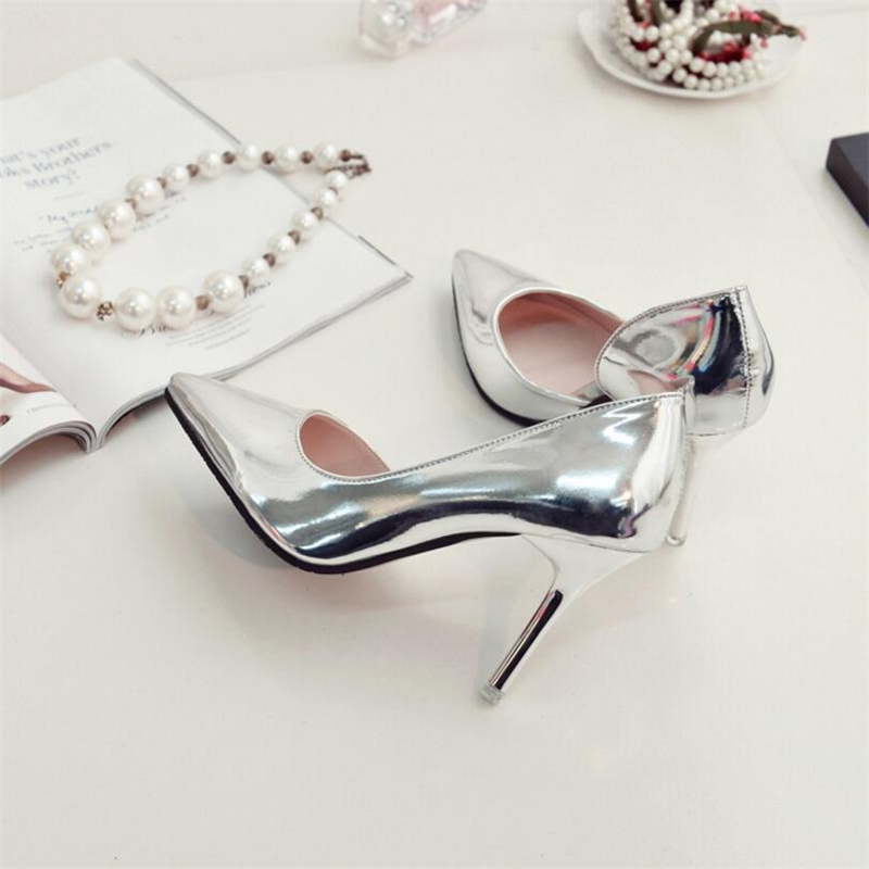 QWEDF 2019 New Spring Autumn Women Pumps Sexy Silver High Heels Shoes Fashion Pointed Toe Wedding Shoes Party Women Shoes YA 09 in Women 39 s Pumps from Shoes