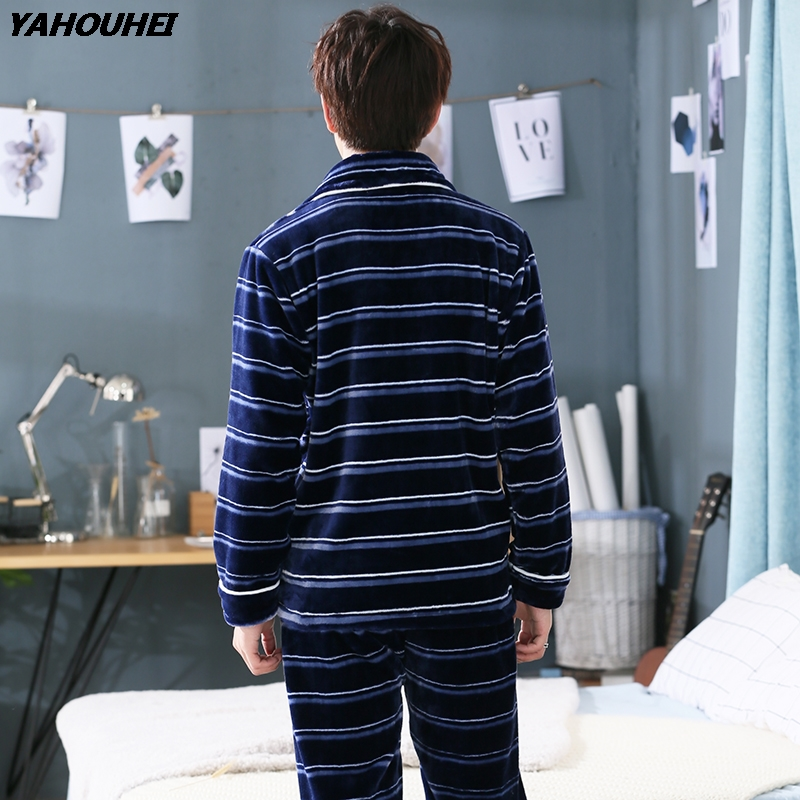 2018 Winter Plus Size Thick Warm Flannel Pajama Sets For Men Long Sleeve Casual Striped Coral Velvet Pyjama Lounge Wear Homewear