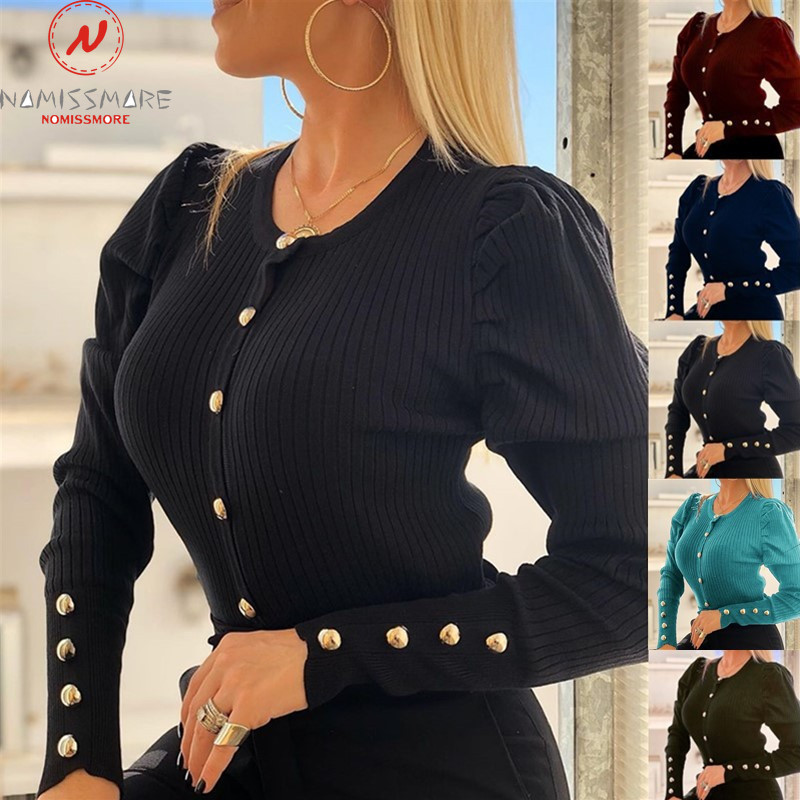Elegant Women Spring Autumn Sweaters Button Decor O-Neck Long Sleeve Solid Color Slim Comfortable Cardigan Coat