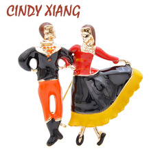 CINDY XIANG New Design Russian Couple Dancing Brooch Enamel Pin Fashion Autumn Winter Jewelry High Quality Arrival 2019