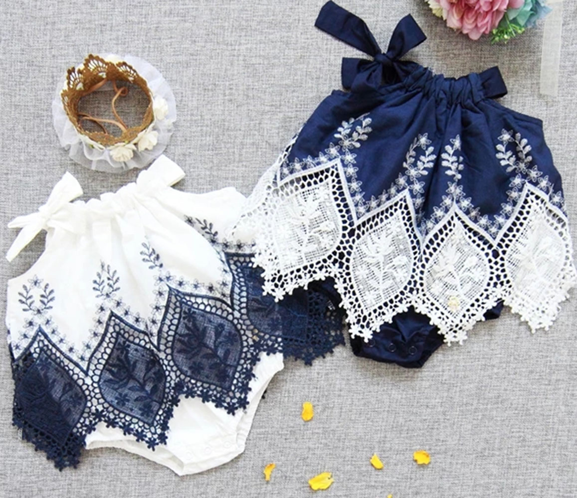 Emmababy Newborn Baby Girl Clothes Sleeveless Halter Lace Patchwork Romper Jumpsuit Baby Summer Clothing Playsuit