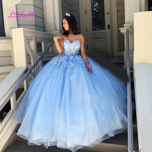 Vintage Light Blue Ball Gown Quinceanera Dresses Lace Appliques Sweet 16 Dress Long Prom Gowns Vestidos 15 anos