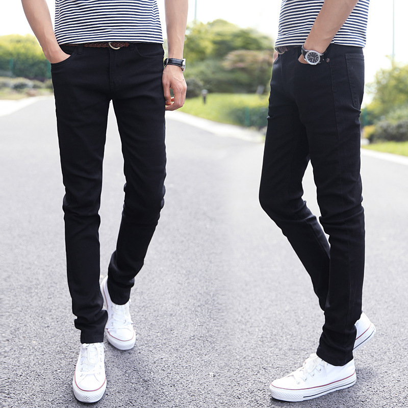 New Style Elasticity Slim Fit Jeans Men Youth Skinny Pants Korean-style Trend Casual Summer Black And White With Pattern MEN'S T