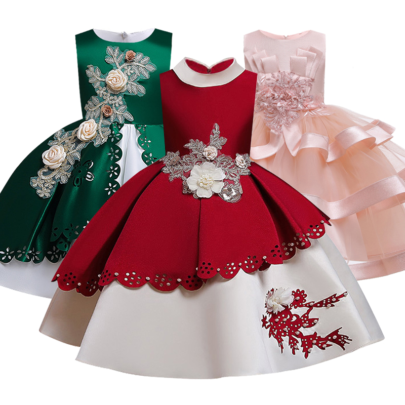New Big Sash Floor Girls Pageant Birthday Party Dresses First Communion Dresses Princess Ball Gown Lace Flower Girl Dresses