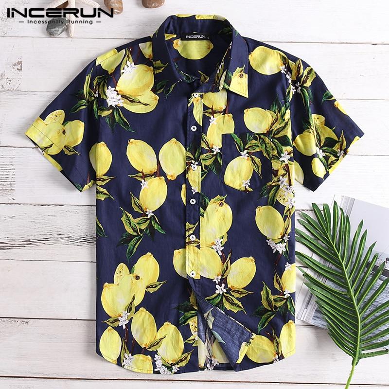 INCERUN Summer Lemon Fruit Printing Mens Casual Shirt Lapel Neck Cotton Loose Short Sleeve Hawaiian Shirts Men Camisa 2020 S-5XL