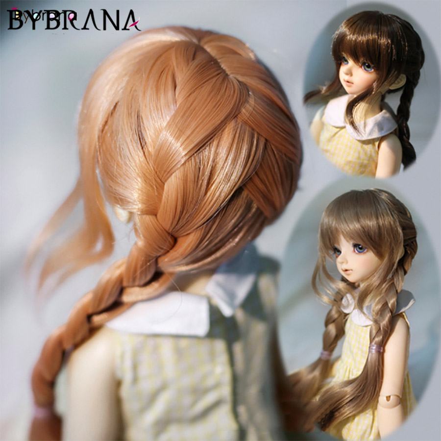 Bybrana 1/3 1/4 1/6 BJD SD Wigs Long Straigst Double Twist Braid High Temperature Free Delivery Fiber For Dolls