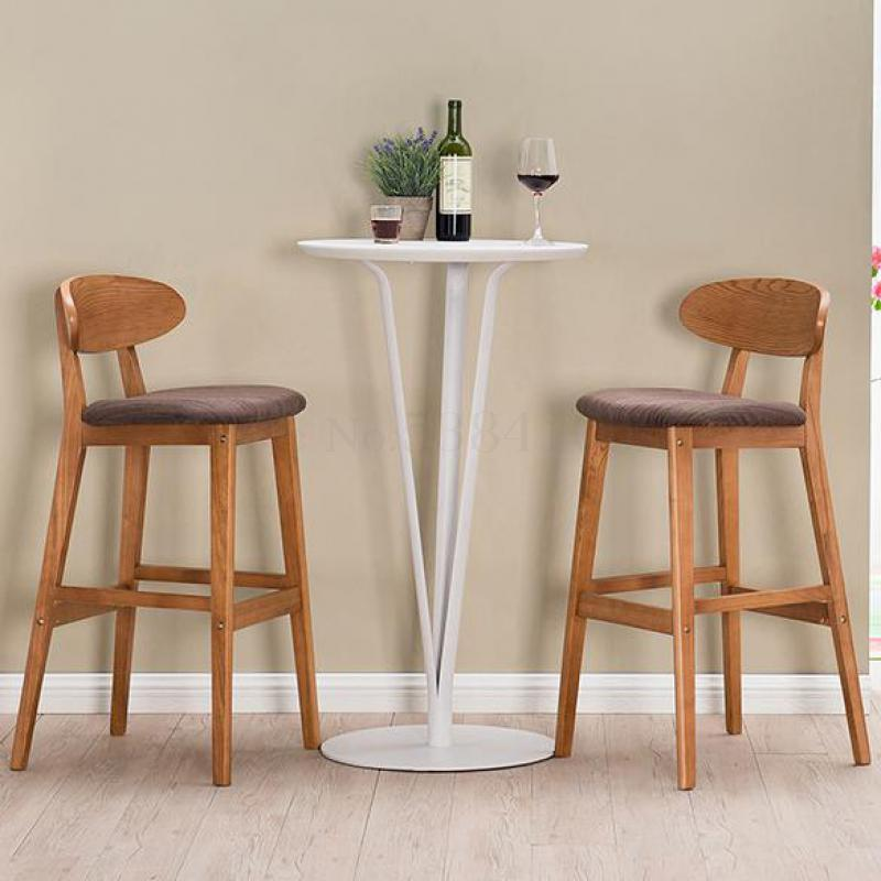 Solid Wood Bar Chair Creative Bar Chair European Back Bar Chair