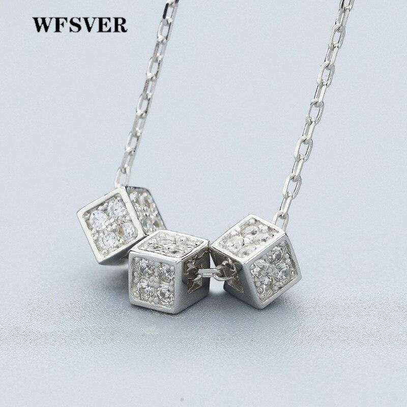 WFSVER 925 bijoux en argent Sterling collier trois pendentif de forme carrée avec collier en cristal pour les femmes bijoux fins
