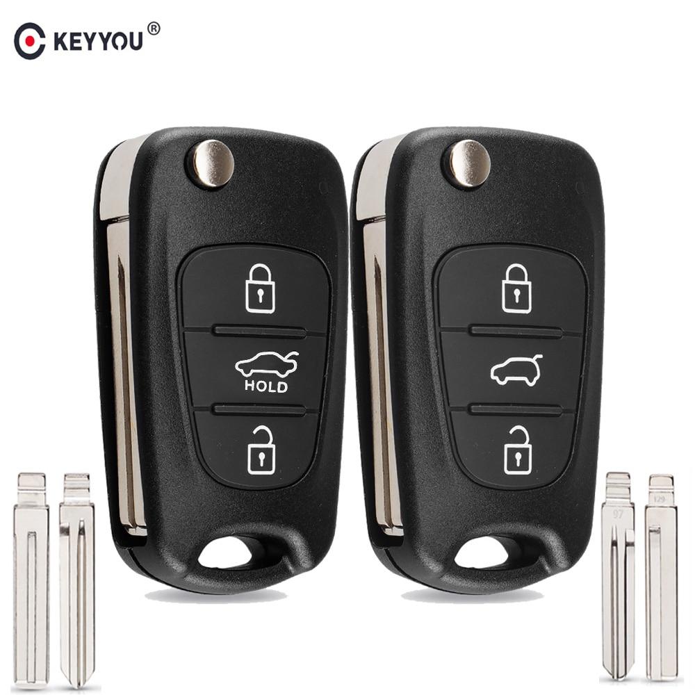 KEYYOU Новое пульт дистанционного ключа оболочки для Hyundai I20 I30 IX35 I35 акцент Kia Picanto Sportage K5 3 кнопки флип складной дистанционный ключ чехол