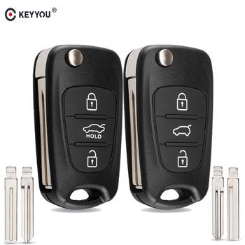KEYYOU nowy zdalny klucz Shell samochodu Hyundai I20 I30 IX35 I35 Accent Kia Picanto Sportage K5 3 przyciski odwróć składana obudowa pilota z kluczykiem samochodowym tanie i dobre opinie IX35 key shell I30 key shell K5 key shell KEY SHELL FOR Hyundai