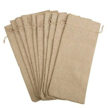 10pcs Jute Wine Bags, 14 x 6 1/4 inches Hessian Wine Bottle Gift Bags with Drawstring(China)