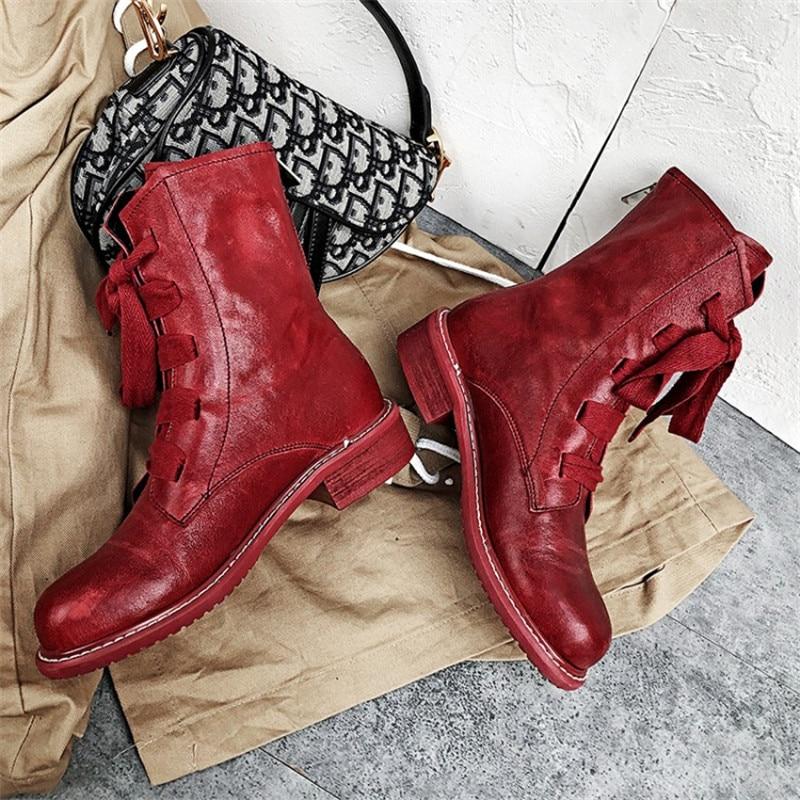Prova Perfetto marque Design femmes bottes en cuir véritable bottes courtes femmes loisirs mode défilé femmes chaussures bottes d'hiver - 2