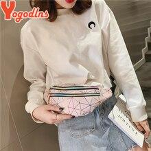 Yogodlns 2020 Fashion Double Zipper Chest bag PU Leather Plaid Shoulder Bag Casual Laser Waist Bag For Ladies