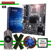 HUANANZHI X58 اللوحة الأم مع Xeon CPU X5570 2.93GHz RAM 16G(2*8G) REG ECC بطاقة الفيديو GTX750Ti 2G أجزاء كمبيوتر لتقوم بها بنفسك