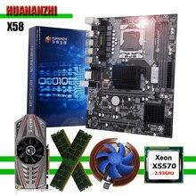 Huananzhi x58 placa mãe com xeon cpu x5570 2.93ghz ram 16g (2*8g) reg ecc placa de vídeo gtx750ti 2g computador ferragem diy
