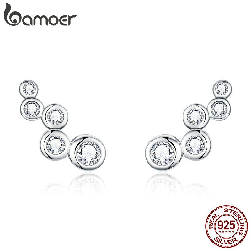 bamoer Shiny Bubble Long Stud Earrings for Women Geometric Simple 925 Sterling Silver Jewelry Statement Engagement Gift BSE235(China)