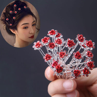 10Pc/Lot Women Bridal Wedding Crystal  Flower Rose Hairpin Clip Barrettes Sticks Hair Braider Styling Tools Hair Accessories