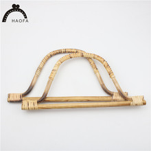 Haofa  New Arrivals 28cm wooden bag handle natural bamboo for DIY handbag frame 5pcs/set