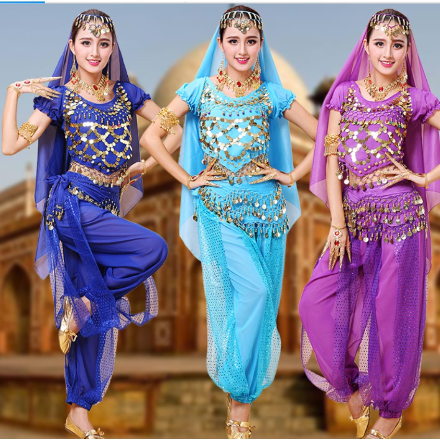 <font><b>Indian</b></font> Dance <font><b>Sari</b></font> Bellydance <font><b>Skirt</b></font> Suit Women Chiffon 5pcs Bollywood Belly Dance Costume Set image