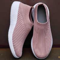 2020 Sneakers Women Casaul Shoes Fashion Slip On Flats Shoes Knitted Vulcanized Sock Shoes Women Trainers Tenis Feminino