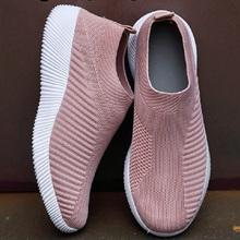 2020 trampki damskie buty Casaul modne buty wsuwane mieszkania buty dzianiny wulkanizowane skarpety buty damskie trenerzy Tenis Feminino tanie tanio WENKOUBAN Elastycznej tkaniny Płytkie Stałe Dla dorosłych Mesh RUBBER Wiosna jesień Niska (1 cm-3 cm) Slip-on Pasuje prawda na wymiar weź swój normalny rozmiar