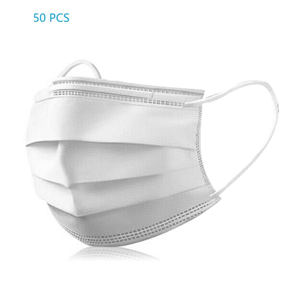 Variation #1 of 10/50pcs men women adult cotton anti dust mask activated filter 3 layers mouth mask muffle bacteria proof flu face masks