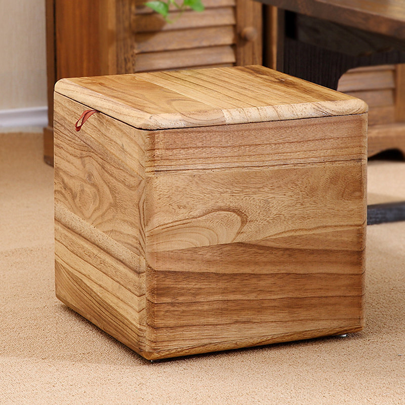 Storage Stool Can Sit Adult Solid Wood Toy Miscellaneous Storage Finishing Box Creative Change Shoe Stool