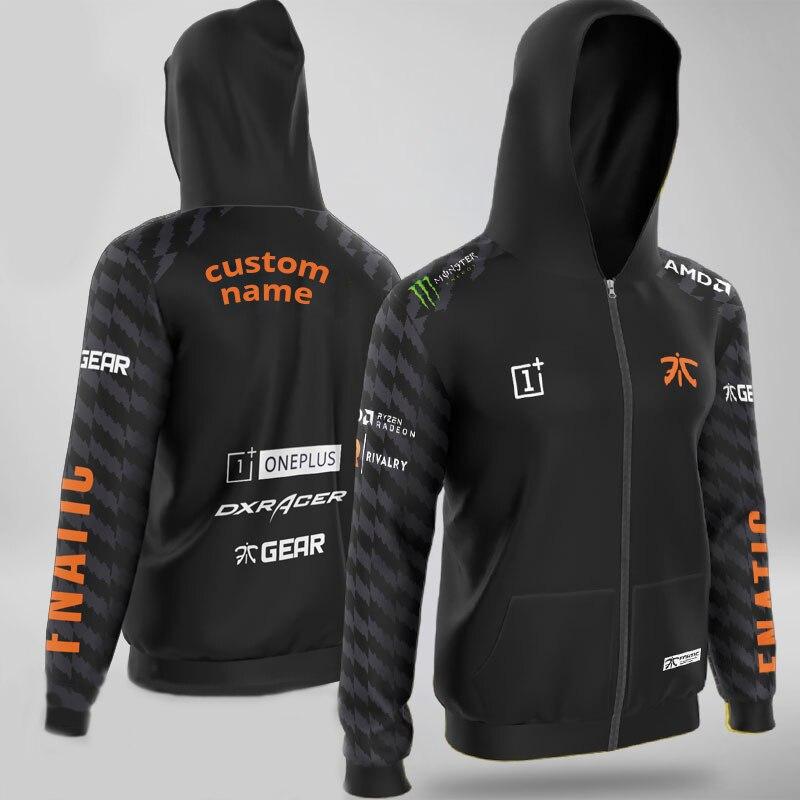 CS LoL Team Uniform Fnaticy Jerseys Customized Name Flag Hoodies Men Long Sleeve Streetwear Casual Sweat Mens Hoodie Sweatshirt