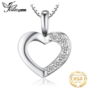 JewelryPalace Heart Sterling Silver Pendant Necklace 925 Chain Choker Statement Collar Women 45cm