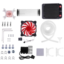 Pc Water Cooling System Set G1/4 inch Universal Cpu Waterblock 160Mm Water Tank Pump 120Mm Radiator 2M Hose Cooling Fans Kit цена